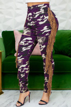 Purple Casual Street Print Camouflage Print Tassel Split Joint Regular High Waist Pencil Full Print Bottoms