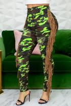 Fluorescent Green Casual Street Print Camouflage Print Tassel Split Joint Regular High Waist Pencil Full Print Bottoms