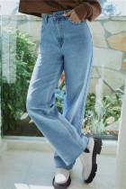Light Blue Fashion Casual Solid Basic High Waist Straight Denim Jeans