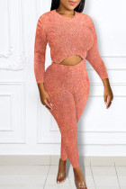 Pink Casual Solid Split Joint Asymmetrical O Neck Long Sleeve Two Pieces