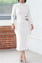 White Fashion Casual Solid Bandage Hollowed Out O Neck Long Sleeve Dresses
