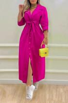 Rose Red Casual Elegant Solid Split Joint Buckle With Belt Turn-back Collar Shirt Dress Dresses