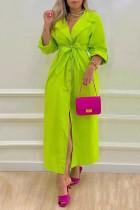 Green Casual Elegant Solid Split Joint Buckle With Belt Turn-back Collar Shirt Dress Dresses