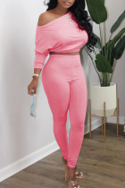 Pink Casual Solid Split Joint Oblique Collar Long Sleeve Two Pieces