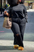 Black Casual Solid Ripped Split Joint O Neck Plus Size Two Pieces