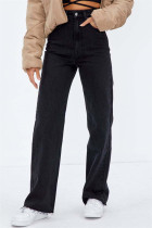 Black Fashion Casual Solid Basic High Waist Straight Denim Jeans