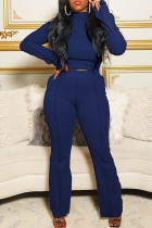 Blue Fashion Casual Solid Split Joint Turtleneck Long Sleeve Two Pieces