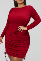Burgundy Fashion Casual Solid Draw String Fold O Neck Long Sleeve Plus Size Dresses