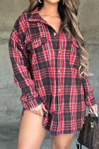 Red Casual Plaid Print Split Joint Buckle Turndown Collar Tops