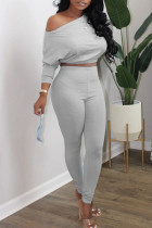 Grey Casual Solid Split Joint Oblique Collar Long Sleeve Two Pieces