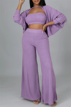 Purple Fashion Casual Solid Hollowed Out Split Joint O Neck Long Sleeve Three-piece Set