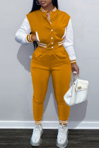 Orange Fashion Casual Patchwork Cardigan Pants Long Sleeve Two Pieces