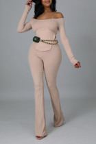 Apricot Casual Solid Split Joint Slit Off the Shoulder Long Sleeve Two Pieces