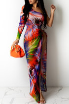 Colour Fashion Sexy Print Backless Slit Oblique Collar Long Sleeve Dresses