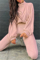 Pink Fashion Casual Solid Cardigan Pants Zipper Collar Long Sleeve Two Pieces