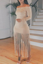 Light Khaki Sexy Casual Solid Tassel Off the Shoulder Long Sleeve Dresses