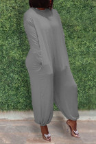 Grey Casual Solid Split Joint O Neck Straight Jumpsuits