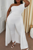 White Sexy Casual Solid Split Joint Oblique Collar Plus Size Jumpsuits