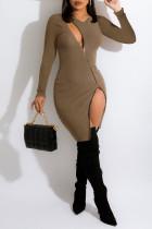 Brown Sexy Solid Split Joint Zipper V Neck Pencil Skirt Dresses