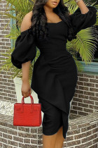 Black Fashion Sexy Solid Split Joint Off the Shoulder Evening Dress