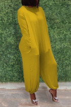 Yellow Casual Solid Split Joint O Neck Straight Jumpsuits