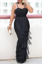 Black Sexy Plus Size Solid Tassel Split Joint Backless Spaghetti Strap Evening Dress