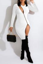 White Sexy Solid Split Joint Zipper V Neck Pencil Skirt Dresses