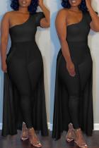 Black Sexy Casual Solid Split Joint Oblique Collar Plus Size Jumpsuits