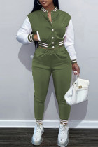 Army Green Fashion Casual Patchwork Cardigan Pants Long Sleeve Two Pieces