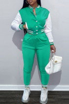 Light Green Fashion Casual Patchwork Cardigan Pants Long Sleeve Two Pieces