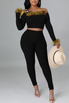 Black Sexy Solid Split Joint Feathers Off the Shoulder Long Sleeve Two Pieces