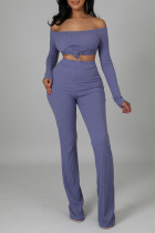 Light Purple Casual Solid Split Joint Slit Off the Shoulder Long Sleeve Two Pieces