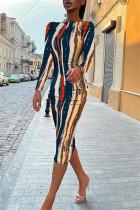 Tibetan Blue Fashion Casual Print Backless O Neck Long Sleeve Dresses