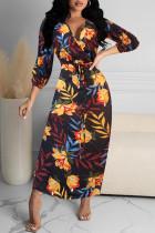 Multicolor Casual Print Bandage Split Joint V Neck Straight Dresses
