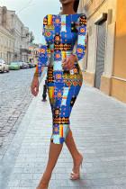 Blue Fashion Casual Print Backless O Neck Long Sleeve Dresses