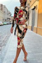 Multicolor Fashion Casual Print Backless O Neck Long Sleeve Dresses