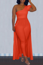 Red Sexy Casual Solid Split Joint Oblique Collar Plus Size Jumpsuits