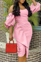 Pink Fashion Sexy Solid Split Joint Off the Shoulder Evening Dress