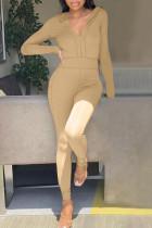 Khaki Casual Solid Split Joint Zipper Hooded Collar Regular Jumpsuits