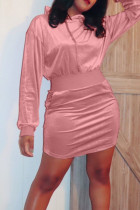 Pink Casual Solid Split Joint Hooded Collar Long Sleeve Dresses