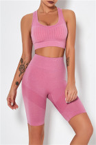Pink Fashion Casual Solid Vests Sports Skinny Two-piece Set
