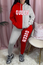Red Casual Letter Print Split Joint Pocket Hooded Collar Long Sleeve Two Pieces