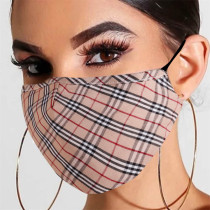Khaki Fashion Plaid Print Split Joint Mask