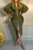 Green Fashion Casual Solid Split Joint Zipper Collar Long Sleeve Dresses
