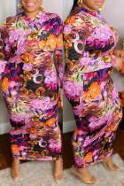 Rose Red Fashion Casual Print Basic O Neck Long Sleeve Plus Size Dresses