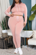 Pink Casual Solid Draw String Hooded Collar Plus Size Two Pieces