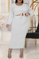 White Fashion Casual Solid Bandage O Neck Plus Size Two Pieces