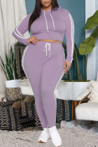 Purple Casual Solid Draw String Hooded Collar Plus Size Two Pieces