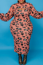 Pink Fashion Casual Print Hollowed Out Turtleneck Plus Size Two Pieces