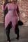 Purple Sexy Solid Split Joint Half A Turtleneck Irregular Dress Dresses